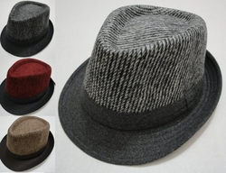 Wholesale Fashion Hats HT828. Fedora Hat-Wool Like with Striped Top Solid Bill