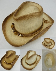Clothing Apparel Headwear Wholesale Bulk - Fashion Hats HT830. Paper Woven Cowboy Hat [Beaded Band]