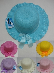Wholesale Fashion Hats HT838. Girl's Summer Hat with Bow [Scalloped Edge]