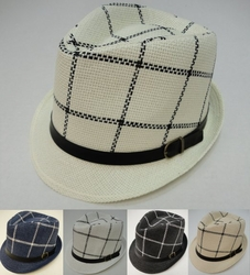 Wholesale Fashion Hats - HT853. Fedora Hat with Buckled Hat Band [Windowpane Check]