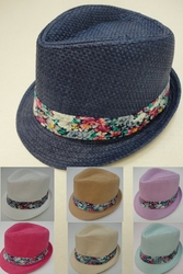 Wholesale Fashion Hats - HT854. Ladies Fedora Hat with Floral Hat Band
