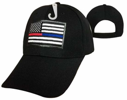 Wholesale Hats, Firefighter Police Hats Wholesale Bulk - CAP650A US Flag Thin Red Blue Line Cap