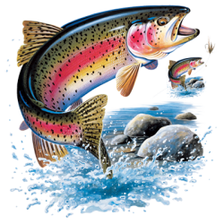 Wholesale Clothing, Apparel Headwear Wholesale Bulk - Fishing Rainbow Trout T Shirts Men's Women's Adult - 07350HL1