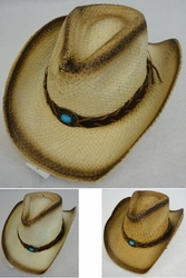 Clothing Apparel Headwear Wholesale Bulk - HT1505. Paper Straw Cowboy Hat [Turquoise Stone]