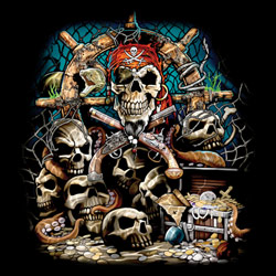 Skull Gothic Wholesale Clothing and Apparel Drop Shipping - Adult Gun T Shirts - Pirate T Shirts - MSC Distributors