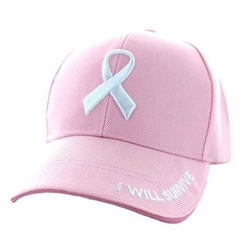 Wholesale Women's Adult Embrodered Hats and Caps in Bulk - Breast Cancer Pink Ribbon Velcro Cap (Solid Light Pink) - VM555