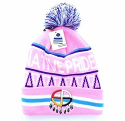 Wholesale Women's Hats and Caps in Bulk - Native Pride Madison Wheel Pom Pom Beanie (Light Pink) - WB072