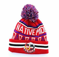 Wholesale Hats and Caps in Bulk - Native Pride Madison Wheel Pom Pom Beanie (Red) - WB072