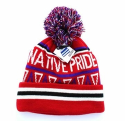 Wholesale Adult Women's Men's Youth Hats and Caps in Bulk - Plain Pom Pom Beanie (Native Red) - WB072