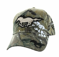 Hats Caps Wholesale Horse Embroidered Logo Cheap Baseball Hats and Caps in Bulk - Running Horse Velcro Cap (Solid Hunting Camo) - VM275