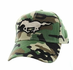 Wholesale Horse Embroidered Logo Cheap Baseball Hats and Caps in Bulk - Running Horse Velcro Cap (Solid Military Camo) - VM275