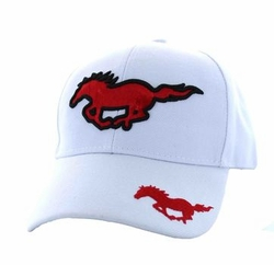Wholesale Horse Embroidered Logo Cheap Baseball Hats and Caps in Bulk - Running Horse Velcro Cap (Solid White) - VM275
