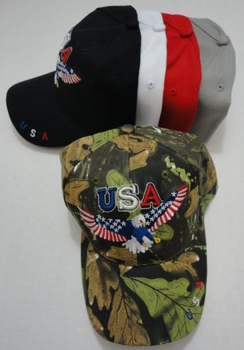 Wholesale Military Patriotic Hats and Caps Suppliers - HT730. USA Eagle Hat with Flag Wings