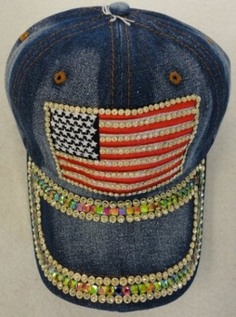 Wholesale Resale Products - Hats Caps - HT1020. Denim Hat with Bling Gold [Flag]