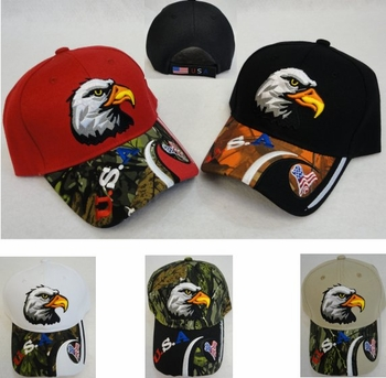 Wholesale Apparel Bulk Cheap Discount Baseball Caps T Shirts Clothing - Wholesale Bulk - HT175. Eagle Head Hat [Red White Blue USA & Flag on Bill]