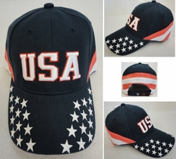 Wholesale Hats Caps Manufacturers In USA - HT771. USA Ball Cap [Stars on Bill Stripes Around]