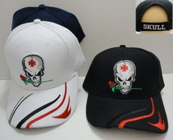Wholesale Products Gifts Supplier Bulk - HT535. Skull with Rose Hat [Stripes on Bill]