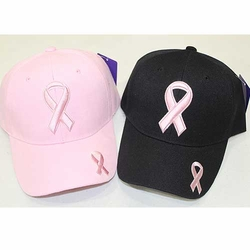 Wholesale Cancer Caps - Cancer Baseball Hats in Bulk - Pink Ribbon Hats - PR-001 Pink Ribbon Baseball Cap (Acrylic)