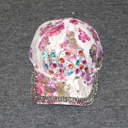 Wholesale Rhinestone Hats, Premium Bulk Suppliers - AA-008 Lady's Bling Glitter Summer Cap (USA G118)