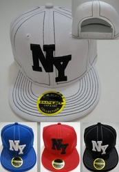 Men's Women's Adult Flat Bill Snap-Back - HT965. Snap Back Flat Bill Hat [NY with Stitching]