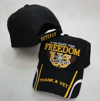 Clothing Apparel T-Shirts Hats Wholesale Bulk US Military Licensed - IF YOU ENJOY YOUR FREEDOM - THANK A VET Hat - HT125