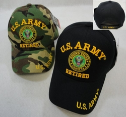 Men's Women's Adult Hats Wholesale Bulk Military - HT31080. Licensed US Army RETIRED Ball Cap Assorted Colors