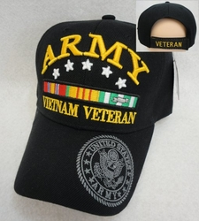 Hats Wholesale Bulk Military - HT3622BLK. Licensed Army [Vietnam Veteran] Black Only