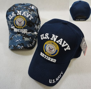 Clothing Apparel T-Shirts Hats Wholesale Bulk US Military - HT41082. Licensed US Navy RETIRED Ball Cap Assorted Colors