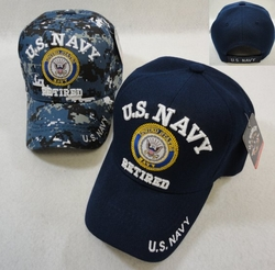 Wholesale Military Clothing Apparel Baseball Hats Caps Bulk - HT41082. Licensed US Navy RETIRED Ball Cap Assorted Colors