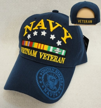 Wholesale US Navy Hats Cheap Caps Ship Army - HT4623BLUE. Licensed Navy [Vietnam Veteran] Blue Only