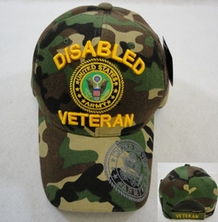 Hats Wholesale Bulk Military - HT6000. Licensed US Army DISABLED VETERAN Hat Camo Only