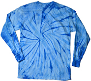 Wholesale Products - Men's Women's Adult Colortone Youth & Adult Tie Dye Long Sleeve T-Shirt - Spider Baby Blue - MSC Distributors