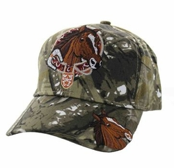 Wholesale Horse Embroidered Logo Cheap Baseball Hats and Caps in Bulk - Horse & Belt Velcro Cap (Solid Hunting Camo) - VM196-03