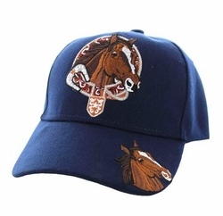 Wholesale Horse Embroidered Logo Cheap Baseball Hats and Caps in Bulk - Horse & Belt Velcro Cap (Solid Navy) - VM196-06