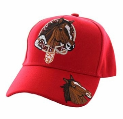Wholesale Horse Embroidered Logo Cheap Baseball Hats and Caps in Bulk - Horse & Belt Velcro Cap (Solid Red) - VM196-07