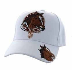 Wholesale Horse Embroidered Logo Cheap Baseball Hats and Caps in Bulk - Horse & Belt Velcro Cap (Solid White) - VM196-08