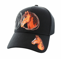 Wholesale Horse Embroidered Logo Cheap Baseball Hats and Caps in Bulk - Horse & Rope Velcro Cap (Solid Black) - VM158-01