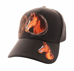 Wholesale Horse Embroidered Logo Cheap Baseball Hats and Caps in Bulk - Horse & Rope Velcro Cap (Solid Brown) - VM158-02