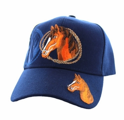 Wholesale Horse Embroidered Logo Cheap Baseball Hats and Caps in Bulk - Horse & Rope Velcro Cap (Solid Navy) - VM158-07