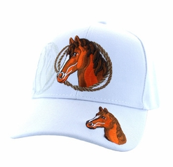 Wholesale Horse Embroidered Logo Cheap Baseball Hats and Caps in Bulk - Horse & Rope Velcro Cap (Solid White) - VM158-08
