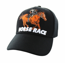 Wholesale Horse Embroidered Logo Cheap Baseball Hats and Caps in Bulk - Horse Race Velcro Cap (Solid Black) - VM450-01