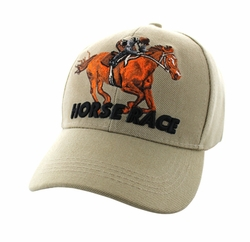 Wholesale Horse Embroidered Logo Cheap Baseball Hats and Caps in Bulk - Horse Race Velcro Cap (Solid Khaki) - VM450-02