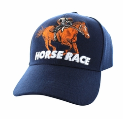 Wholesale Horse Embroidered Logo Cheap Baseball Hats and Caps in Bulk - Horse Race Velcro Cap (Solid Navy) - VM450-03