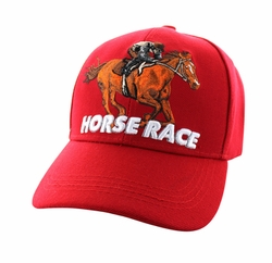 Wholesale Horse Embroidered Logo Cheap Baseball Hats and Caps in Bulk - Horse Race Velcro Cap (Solid Red) - VM450-04