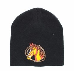 Hats Caps Wholesale Horse Embroidered Logo Cheap Baseball Hats and Caps in Bulk - Horse Short Beanie (Solid Black) - WB050-16