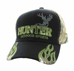 Wholesale Hunting Hats and Caps in Bulk - Hunter Outdoor Sports Velcro Cap (Black & Hunting Camo) - VM361