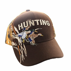 Wholesale Hunting Hats and Caps in Bulk - Hunting Duck Velcro Cap (Brown & Orange Camo) - VM520
