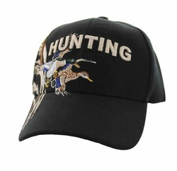 Wholesale Hunting Hats and Caps in Bulk - Hunting Duck Velcro Cap (Solid Black) - VM520