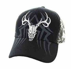 Wholesale Hunting Hats and Caps in Bulk - Hunting Velcro Cap (Black & Hunting Camo) - VM648