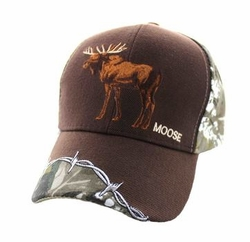 Moose Apparel T Shirts Wholesale Hats Caps Embroidered Baseball Logo Supplier Bulk - Moose Velcro Cap (Brown Hunting Camo) - VM640